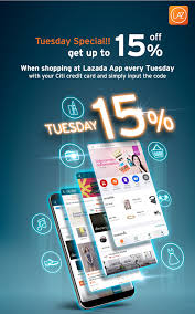tuesday special get up to 15 off when ping at lazada app every