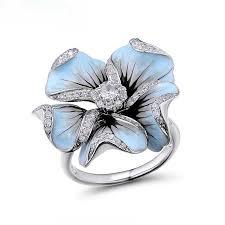 <b>Элегантный синий кристалл</b> эмаль цветок Обручальные кольца ...
