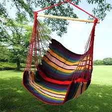 details about garden patio porch hanging cotton rope swing chair swinging hammock seat uk