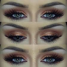 dark gold smokey eye for blue eyes