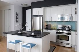 view in gallery a dash of blue in the black and white kitchen