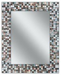 Mosaic Rectangular Bathroom Mirror Art Glass Silver Mosaic