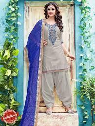 8 Grey U Blue Chanderi Silk Patiala Suit Suits Online