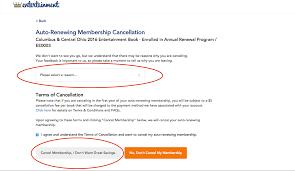 entertainment how do i cancel my annual renewal member ar cancelation