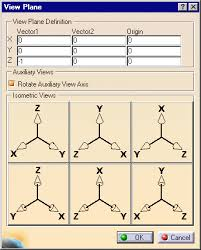 parallel planes definition. the plane definition dialog box automatically displays corresponding vectors and origin point. rotate auxiliary view axis option is activate, parallel planes