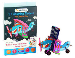 funvention bi plane 3d coloring model diy desk organizer pen stand stem