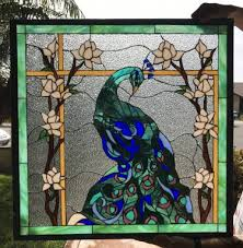 magnificent peacock magnolia flowers leaded stained glass window panel 24 x 24 in