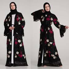 Muslim Women Flower Embroidery Open Long Cardigan ... - Vova