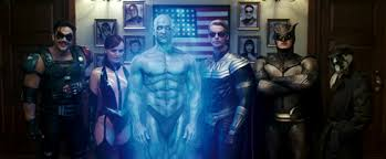 watchmen film the main cast of watchmen from left to right the comedian silk spectre ii dr manhattan ozymandias nite owl ii and rorschach