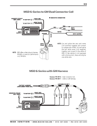 msd ignition wiring diagrams msd 6 series to gm dual connector coil