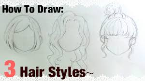 how to draw anime girl hair step by step for beginners.  How How To Draw 3 Manga Girl Hairstyles  YouTube Intended How Draw Anime Hair Step By For Beginners A