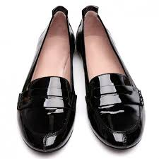 black patent leather flat penny loafers for women image 1