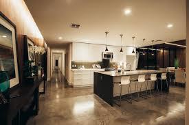 floor concrete floor polished with kitchen island also pendant lighting for  beauty kitchen design concrete floor