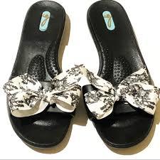 Oka B Okabashi Bow Slide Black White Size 7 8
