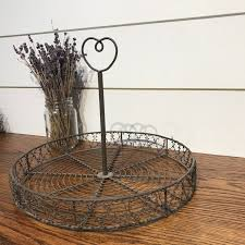 Decorative Wire Tray Farmhouse Cupcake Holder Wire and Iron Decorative Tray The Workshop 9
