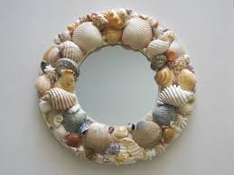 A shell art decorated mirror. large image