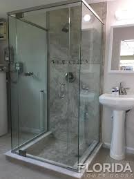 3 8 frameless pivot top and bottom hinge enclosure with euro header and four panels