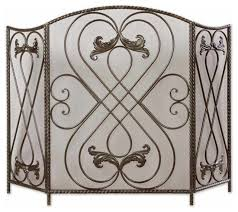 tuscan scroll iron fireplace screen aged black traditional fireplace screens