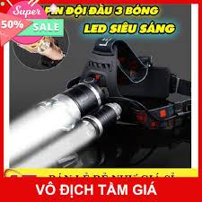 ✔️ GIÁ SỈ - Đèn Pin Đội Đầu 3 Bóng Led - Siêu Sáng, Kèm 2 Pin, Kèm Sạc sỉ  giá tốt - Đèn pin Nhãn hàng No brand