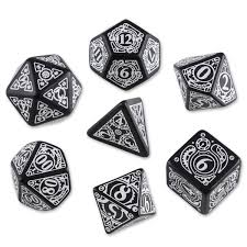 Amazon.com: Steampunk Dice Black/White (7 Stk.) Board Game: Toys & Games