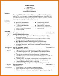 Industrial Resume Templates Maintenance Mechanic Resume Examples Of Resumes Format Best 34
