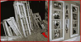 display family photos in an old window or door frame