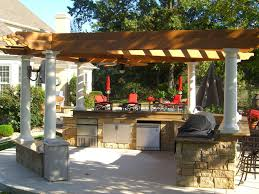 Garden Kitchen Houston Outdoor Cabinets And Natural Wooden Pergola Above Kitchen Counter