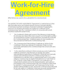 Venue Contract Template Work For Hire Agreement Free Template Sample Doc Contracts