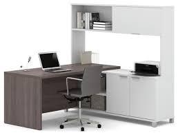 bestar pro linea l desk with hutch white and bark grey