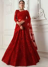 Red Net Dress Design Satin Silk Reception Designer A Line Lehenga Choli