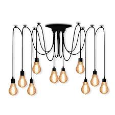 veesee 10 arms industrial ceiling spider lamp retro e26 edison bulb hanging chandelier lights