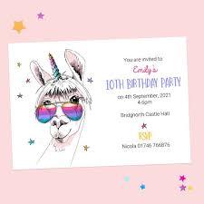 Children Birthday Invitations Childrens Birthday Invitations Cool Llamacorn