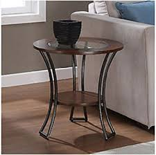 glass end tables. carlisle walnut / charcoal grey round end table, living room, furniture, tables, glass tables n