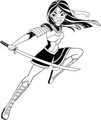 Katana Dc Superhero Girls Coloring Page To Print Solid Surface