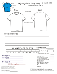 Best Photos Of Printable T Shirt Order Form Template Free T Shirt