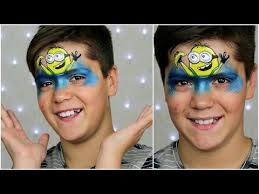 happy minion face painting makeup tutorial for children you