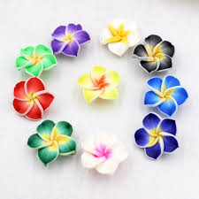 10pcs colorful loose 3d polymer clay beads flower plumeria rubra design for diy jewelry making