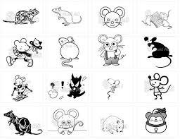 年賀状2020 ネズミの白黒無料イラスト かわいい和風まで