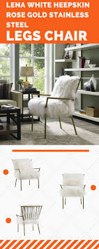classy home furniture. Lena White Sheepskin Rose Gold Stainless Steel Legs Chair Classy Home Furniture A
