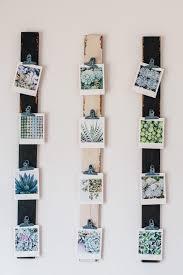 DIY photo display with wood slats & clips
