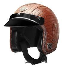 ihambing ang pinakabagong handmade motorcycle vintage leather harley helmet 3 4 w face mask classical dot brown m intl pinahusay na presyo sa