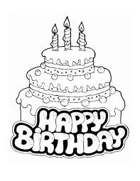 Happy Birthday Coloring Pages With Cake Coloringstar