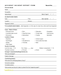 Injury Incident Report Form Template Workplace Incident Report Form