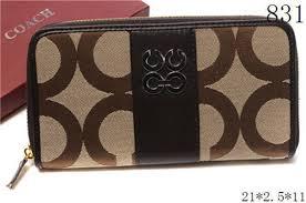 Coach Op Art Stripe Accordion Zip Brown Wallet