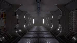 フリーイラスト 宇宙船の中の通路 パブリックドメインq著作権フリー
