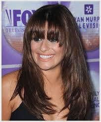 lea michele long straight hairstyle with bangs