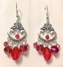 red crystal chandelier earrings red heart teardrop chandelier earrings