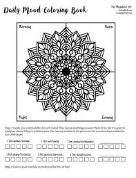 Mood Tracker Daily Bullet Journal Coloring Pages Mandala 7 Days