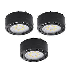 amax lighting 3 pack 2 625 in plug in under cabinet led puck light