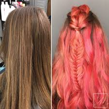 Before After Coral Balayage Hair Fishtail